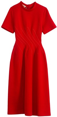 Marni Double Faced Short Sleeve Jersey Dress in Hot Red