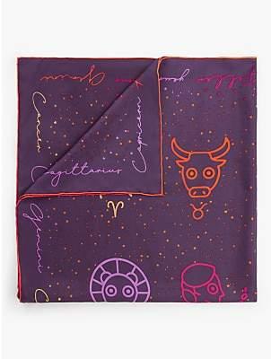 Fraas Horoscope Print Square Silk Scarf, Purple/Multi