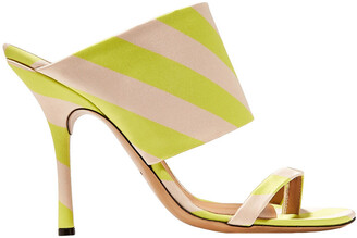 Dries Van Noten Neon Striped Satin Mules