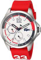 Lacoste Men's 'CAPBRETON' Quartz Stainless Steel and Silicone Casual Watch, Color:Red (Model: 2010895)