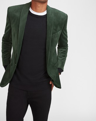 Express Slim Solid Green Velvet Tuxedo Jacket