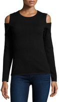 Neiman Marcus Cashmere Cold-Shoulder Pullover Sweater, Black