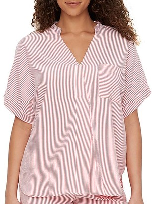 Donna Karan Seersucker Woven Striped Pajama Top