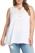 Bobeau Plus Size Women's Embroidered Applique Gauze Tank