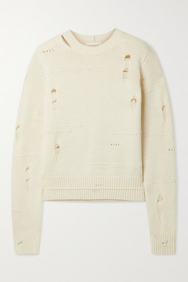 Helmut Lang Distressed Wool, Yak And Cashmere-blend Sweater - Ecru