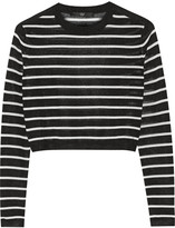 Tibi Cropped striped knitted sweater