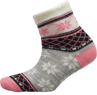 Yax Trax Girls Aloe Socks Snowflake Argyle Pink