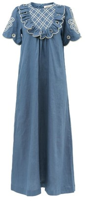 Innika Choo Betty Diddin Ruffled Linen Maxi Dress - Navy
