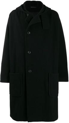 Yohji Yamamoto Oversized Hooded Midi Coat