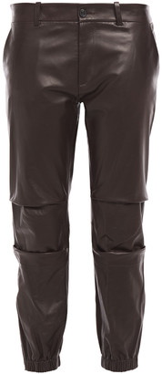 Nili Lotan French Military Cropped Pleated Leather Tapered Pants
