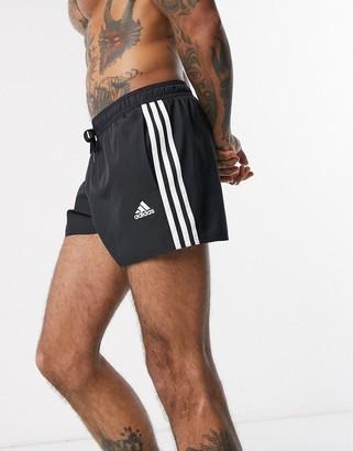 adidas 3 Stripe Swim Shorts In Black