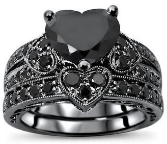 Front Jewelers 14k Black Rhodium Over White Gold 3 & 1/10ct Black Heart Shape Diamond Engagement Ring Bridal Set