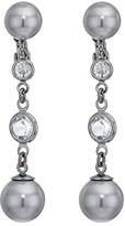 Lauren Ralph Lauren Clip Glass Pearl Drop Earrings (Hematite) Earring