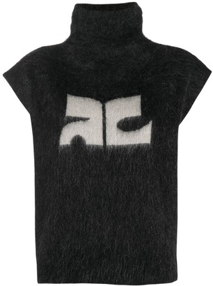 Courreges Cap Sleeve Knitted Logo Sweater