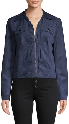 Bagatelle Zip-Up Faux Suede Trucker Jacket