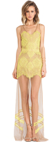 uncategorized  Who made Nicole Scherzingers yellow scallop lace maxi dress?