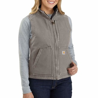 Carhartt Women's Size Loose Fit Washed Duck Sherpa-Lined Mock Vest