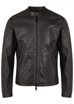 Armani Jeans Chocolate Brown Leather Biker Jacket