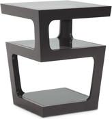 Baxton Studio Clara Black Modern End Table w/ 3, Tiered Glass Shelves