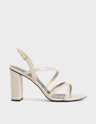 Charles & Keith Snake Print Slingback Heeled Sandals