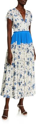 Lela Rose Floral Printed Corded Lace Dress
