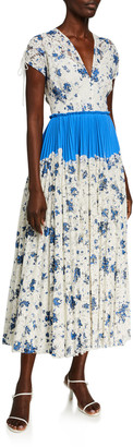 Lela Rose Floral Printed Corded Lace Dress