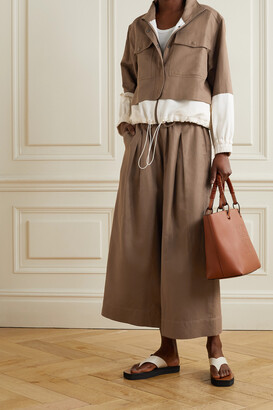 Apiece Apart Selva Cropped Two-tone Linen And Cotton-blend Twill Jacket - Brown