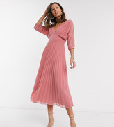 Asos Tall DESIGN Tall pleated midi dress with batwing sleeves in tea rose