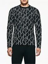 Calvin Klein Platinum Jacquard Geometric Long Sleeve T-Shirt