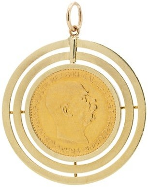 Stephanie Windsor Antique 22K Yellow Gold French Coin Charm