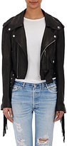 Faith Connexion Women's Fringed Crop Moto Jacket-BLACK