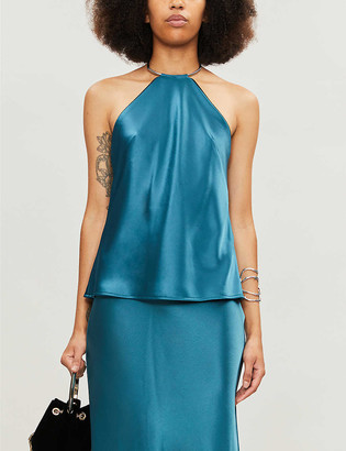 Galvan Halter-neck satin top