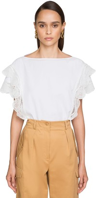 Alberta Ferretti Cotton Poplin Top W/ Macrame Detail