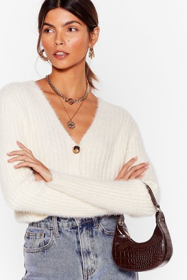 Nasty Gal Womens Button-Down for Whatever Fluffy Knit Cardigan - Cream