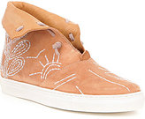 Free People Gansvoort Leather Embroidered Slip On Fold Over Sneakers