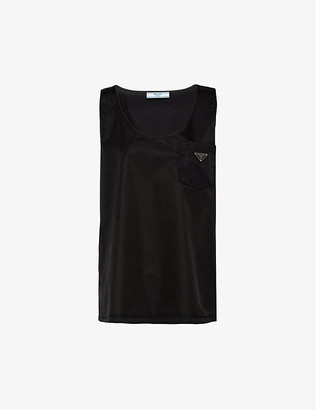 Prada Ladies Black Logo-Patch Sleeveless Re-Nylon and Cotton Top, Size: L