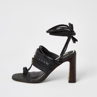 River Island Womens Black toe loop plaited lace-up ankle heels