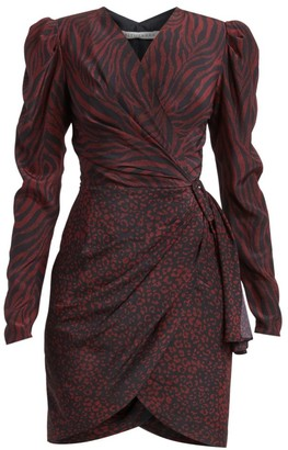 Altuzarra Annette Mixed Animal-Print Silk Wrap Dress