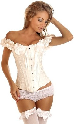 DaisyCorsets Women's Steel Boned Embroidered Peasant Sleeve Corset