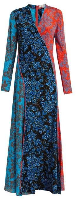 Diane von Furstenberg Callow Print Panelled Bias Cut Silk Dress - Womens - Multi