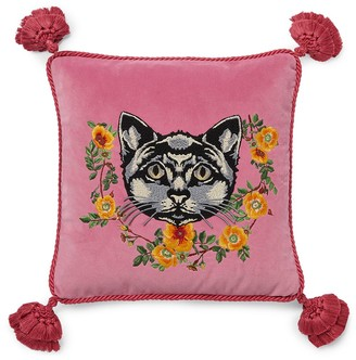 Gucci Velvet cushion with cat embroidery