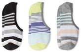Xhilaration Women's Stripes 3-pk Sneaker Socks with Gel Heel Gripper Gray One Size