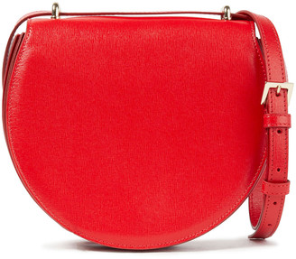 Sara Battaglia Caroline Pleated Textured-leather Shoulder Bag