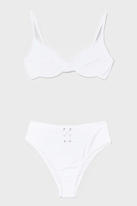 Nasty Gal Womens Underwire Not Lace-Up High-Waisted Bikini Set - White