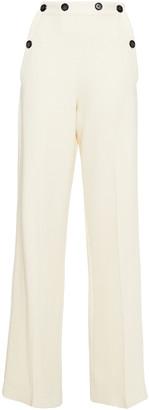 Roland Mouret Palmetto Button-detailed Wool-crepe Wide-leg Pants