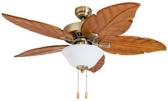 "Prominence Home 52"" Tavenier Key Aged Brass Indoor Bowl Light Ceiling Fan"