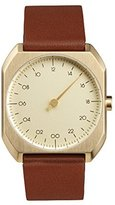 Slow Mo 07 - Brown Leather Gold Case Gold Dial Unisex Quartz Watch with Gold Dial Analogue Display and Brown Leather Strap