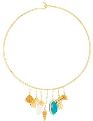 Aurelie Bidermann Aguas Shell-charm Gold-plated Choker Necklace - Gold
