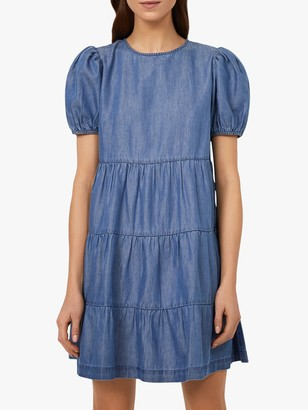 Warehouse Tiered Denim Puff Sleeve Mini Dress, Mid Wash Denim