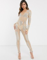 Asos Design DESIGN illusion jewelled full length unitard